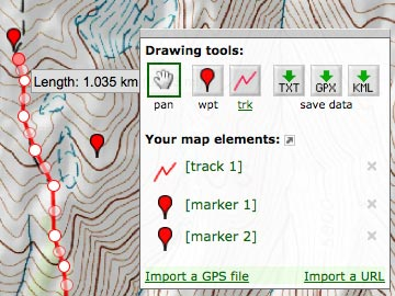 GPS Visualizer: Freehand Drawing Utility: Draw on a map and save GPX